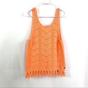 🆕 Roxy Girl Set Them Free Crochet Fringe Crop Top